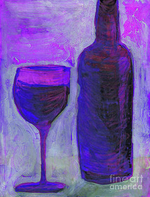 Wine Mixed Media - Glass and Wine Bottle 4 by Lauri Crowe