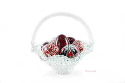 Glass Basket Full Of Eggs Art Print