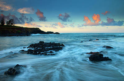 Seascape. Wave Photograph - Glass Beach Dawn by Mike  Dawson