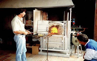 Photograph - Glass Blowing In Murano Factory In Venice, Italy by Merton Allen