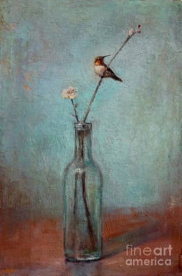 Rufous Wall Art - Painting - Glass Bottle And Hummingbird by Lori  McNee
