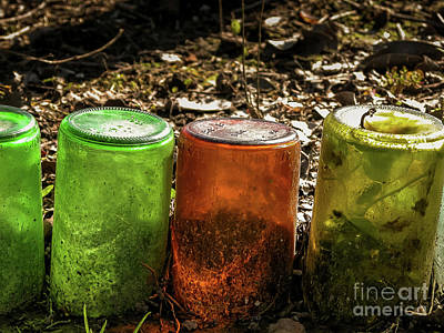 Photograph - Glass Bottles Edge  by Kathleen K Parker