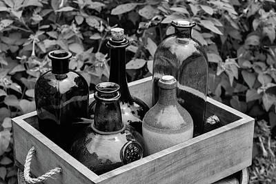Glass Bottles In The Garden Art Print