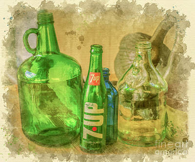Digital Art - Glass Bottles by Lena Auxier