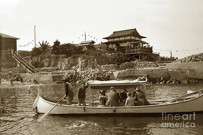 Photograph - Glass Bottom Boat, Pier And Japanese Tea Garden 1915 by California Views Mr Pat Hathaway Archives