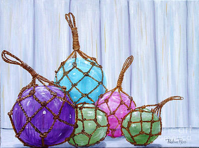 Fishing Bouys Painting - Glass Bouys by Pauline Ross