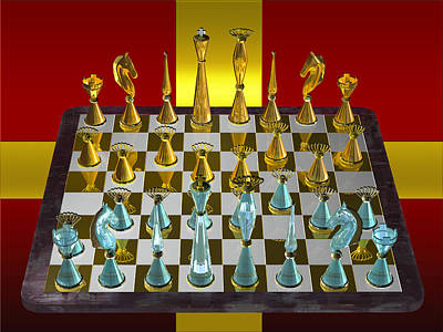 Photograph - Glass Chess Set Series 04 by Carlos Diaz