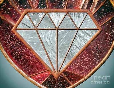 White Gold Engagement Ring Photograph - Glass Diamond by Mariola Bitner