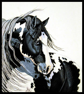Drawing - Glass Eyed Black And White Paint by Cheryl Poland