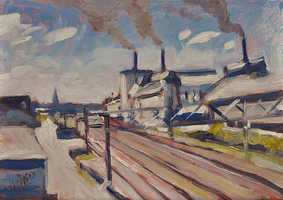 Painting - Glass Factory Along The Railway Track by Nop Briex
