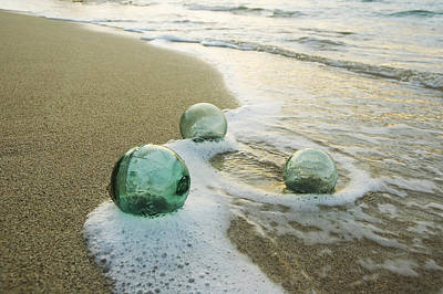 Photograph - Glass Fishing Floats by Mary Van de Ven - Printscapes