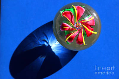 Photograph - Glass Flower On Blue by Karen Adams