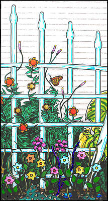 Orange Wall Art - Painting - Glass Garden Right by Rich Travis