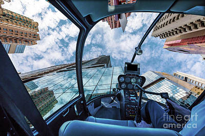 Photograph - Glass High Rise Helicopter by Benny Marty