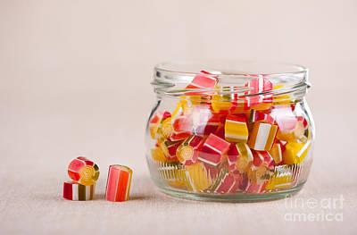 Glass Jar Full Of Tutti-frutti Sugar Candies  Art Print by Arletta Cwalina