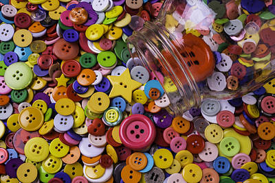 Photograph - Glass Jar With Buttons by Garry Gay