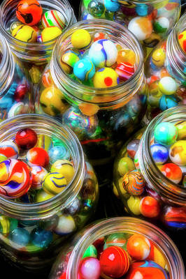Photograph - Glass Jars Full Of Colorful Marbles by Garry Gay