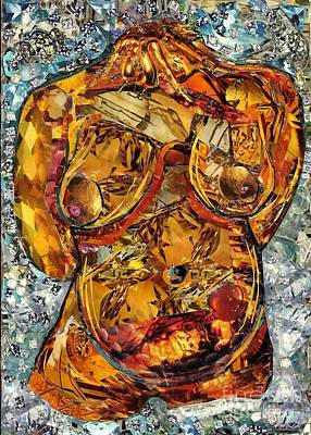 Nude Woman Torso Mixed Media - Glass Lady by Sarah Loft