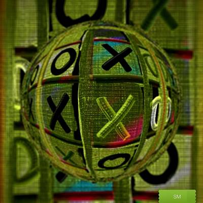 Painting - Glass Marble Tic Tac Toe Art by Sheila Mcdonald
