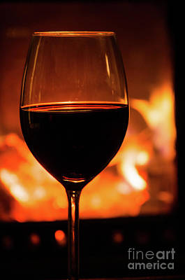 Photograph - Glass Of Red Wine And Fireplace by Kennerth and Birgitta Kullman