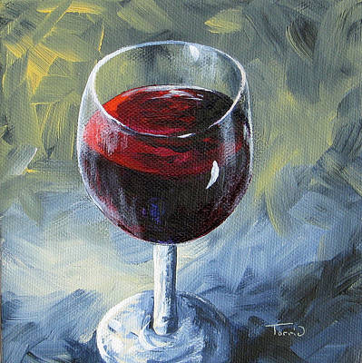 Wine-glass Painting - Glass Of Red Wine II by Torrie Smiley