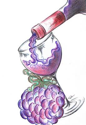 Pouring Wine Drawing - Glass Of Vino Ros'e  by Teresa White