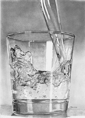Drawing - Glass Of Water by Carl Moore