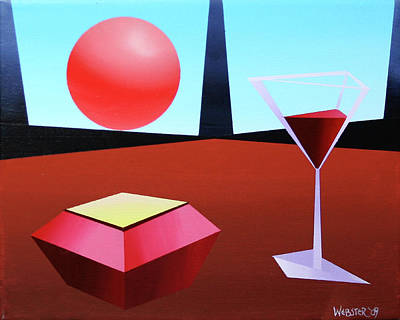 Glass Of Wine On Planet X Art Print by Mark Webster