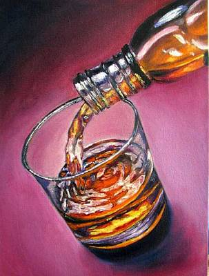 Glass Of Wine Original Oil Painting Art Print by Natalja Picugina