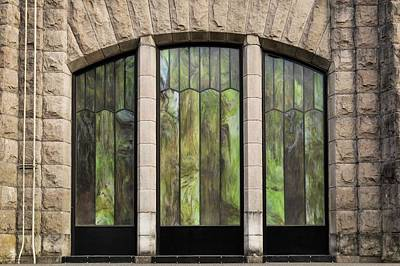 Photograph - Glass Panels And Stone Work by Hany J