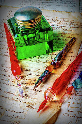 Note Photograph - Glass Pens And Green Ink Well by Garry Gay