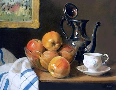 Painting - Glass, Silver And Apples by Robert Holden