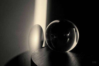 Glass Sphere In Light And Shadow Toned Art Print