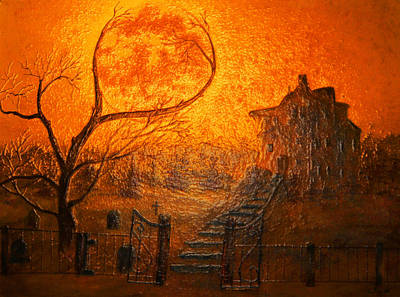 Frightening Painting - Glass Spooky Moon  by Ken Figurski