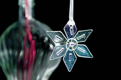 Photograph - Glass Star Decoration by Helen Northcott