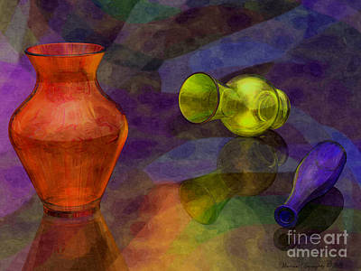 Glass Table Reflection Digital Art - Glass Still Life - Amcg - 14012016 30 X 22.5 by Michael Geraghty