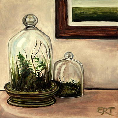 Glass Oil Dish Painting - Glass Terrariums by Elizabeth Robinette Tyndall