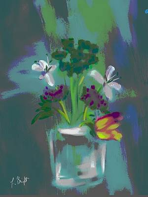 Digital Art - Glass Vase And Flowers Abstract by Frank Bright