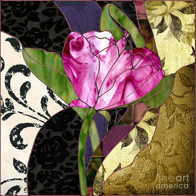 Glassberry Pink Poppy Stained Glass Art Print by Mindy Sommers