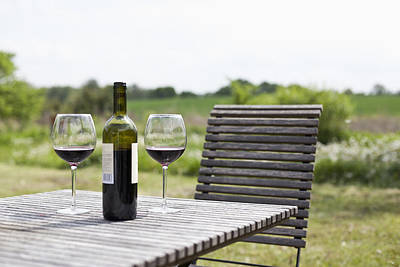Wine Bottle Images Photograph - Glasses And A Bottle Of Red Wine On An Outdoor Setting by Halfdark