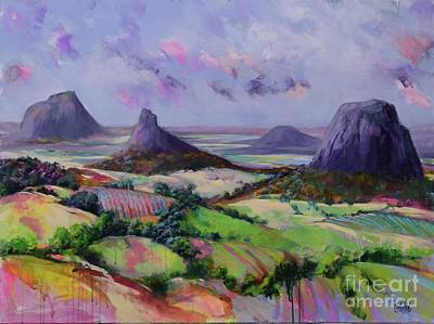 Painting - Glasshouse Mountains Dreaming by Chris Hobel