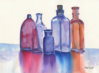 Medicine Bottles Painting - Glassy Reflections by Marsha Elliott