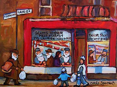 Painting - Glatts Kosher Meatmarket And Tailor Shop by Carole Spandau