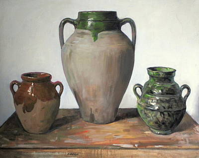 Moroccan Vase Painting - Rustic Near East Pottery by Robert Holden