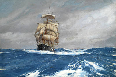 Gleaner At Sea Art Print by Montague Dawson