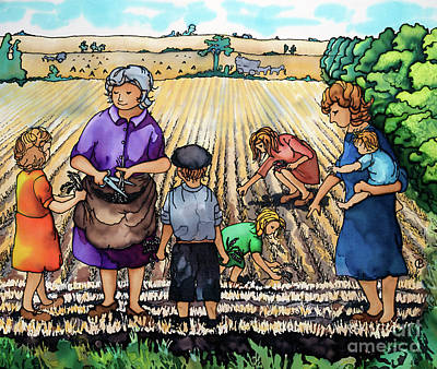 Gleaning Painting - Gleaning At Fordy by Paula Chapman