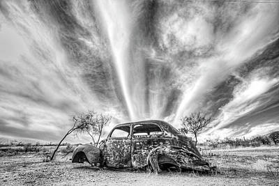 Photograph - Gleeson Arizona Rusted Out Vw Beetle Black And White by Toby McGuire