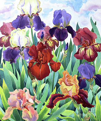 Purple Sky Painting - Glemsford Irises by Christopher Ryland
