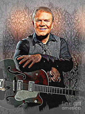 Painting - Glen Campbell - Singing Icon by Ian Gledhill