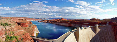 Photograph - Glen Canyon Dam Lake Powell Arizona Pan 01 by Thomas Woolworth